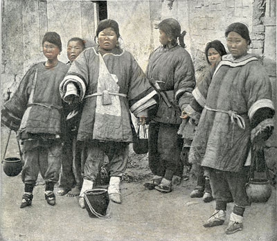 A group of Chinese women with bound feet in Qingdao